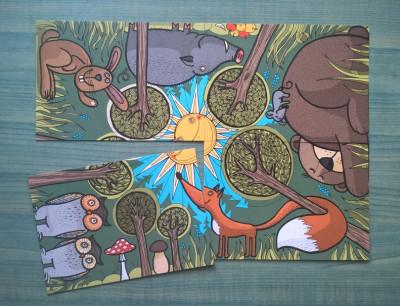 Skladacie pohľadnice- Slnko v lese