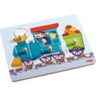 Drevené vkladacie skladačky (puzzle) - mašinka – 5 dielov