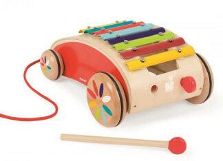 Detský drevený vozík s xylofónom Red Tatoo