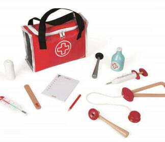 Drevený lekársky kufrík pre deti - Doktor s 10 doplnkami