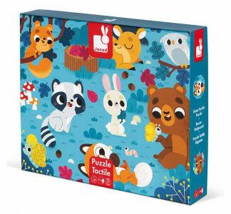 Detské puzzle senzorické Lesné zvieratá - s dotykovými prvkami 20 ks