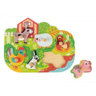 Drevené puzzle na vkladanie s úchytkou Zvieratá na farme