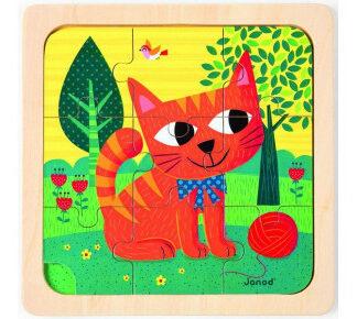 Drevené puzzle s predlohou pre najmenších - Mačička Felix