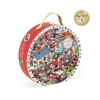 Detské okrúhle puzzle - Požiarnici v okrúhlom kufríku - 208 dielov