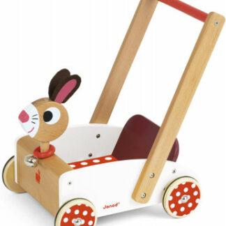 Drevené chodítko a vozík na tlačenie Veselý zajac