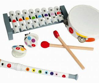 Drevená sada hudobné nástroje - Confetti flauta-tamburína-xylofón-kastanety
