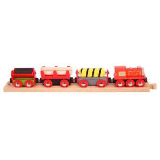 Bigjigs Rail vláčikodráha - Nákladný vlak červený + 3 koľaje