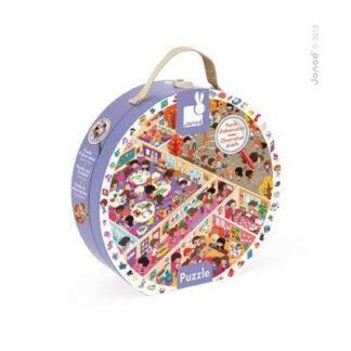 Detské okrúhle puzzle Škola v okrúhlom kufríku - 208 dielov