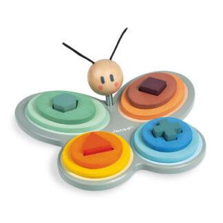Drevená skladačka - Motýľ - učíme sa tvary a farby